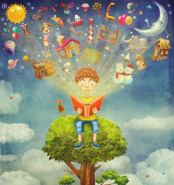 Little boy sitting on the tree and reading a book ,objects flying out